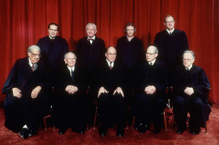 The U.S. Supreme Court in 1988: (front, from left) Thurgood Marshall, William Brennan, Chief Justice William Rehnquist, Byron White and Harry Blackmun; (rear, from left): Antonin Scalia, John Paul Stevens, Sandra Day O'Connor and Anthony Kennedy. Photo: Bettmann, Bettmann Archive