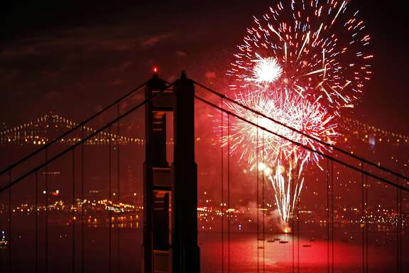 San Francisco's Fourth of July fireworks show is visible through the Golden Gate Bridge in San Francisco, Calif., on Thursday, July 4, 2013.