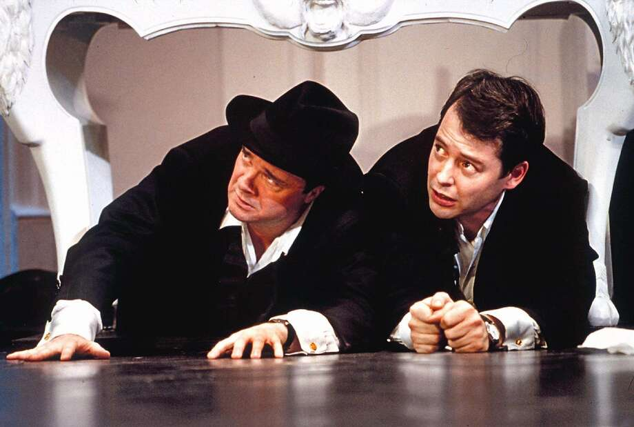 "Nathan Lane, left, and Matthew Broderick in a scene from ""The Producers."" Photo: PAUL KOLNIK, Associated Press"