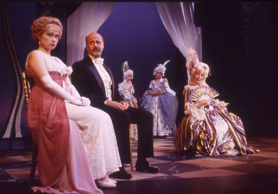 "Child bride Anne (Lianne Marie Dobbs) and husband Fredrik (Allen Fitzpatrick) attend actress Desiree Armfeldt's (Charlotte Cornwell) theatre performance in TheatreWorks' production of Stephen Sondheim's ""A Little Night Music."""