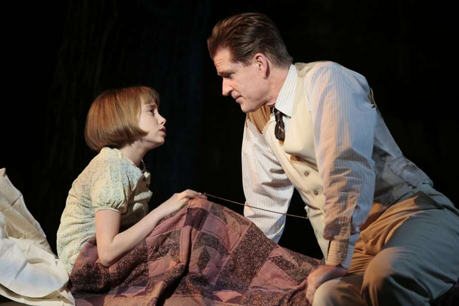 """Olivia Scott plays Scout opposite Matthew Modine's Atticus Finch, in the Hartford Stage Company's 2009 production of """"To Kill a Mockingbird."""" Photo: Contributed Photo, ST"""