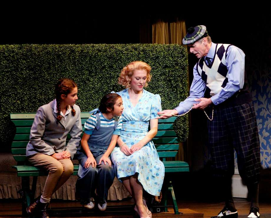 """Kathryn Foley as Jacqueline """"Jackie"""" Bouvier, left, Carolyn Di Loreto as Lee Bouvier, second from left, Elisa Van Duyne as Edie Beale, second from right, and Paul Myrvold as J. V. """"Major"""" Bouvier, right, at the dress rehearsal of """"Grey Gardens"""" at TheatreWorks at the Mountain View Center for the Performing Arts in 2008. Photo: Katy Raddatz, The Chronicle"""