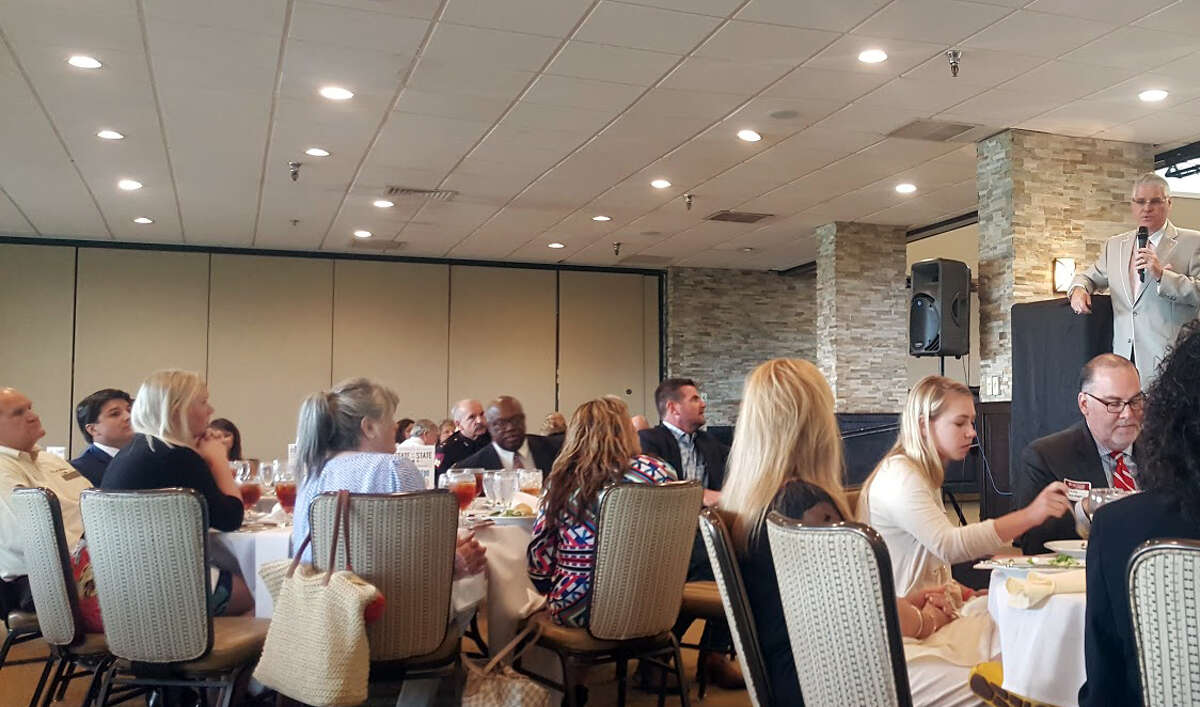 Representative Dan Huberty discusses legislative priorities during the State of the State Luncheon at the Kingwood Country Club on Tuesday, June 27.