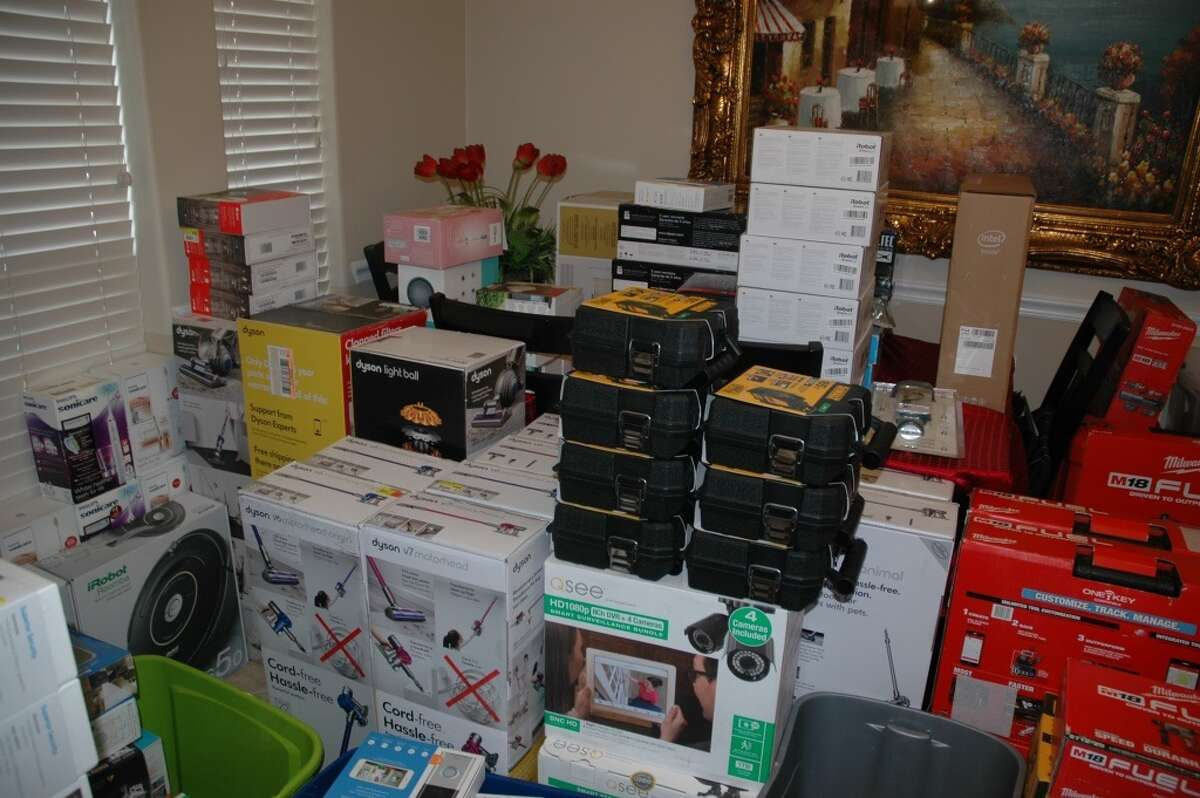 On Thursday evening, Precinct 4 deputies raided a five-bedroom home on the 8600 block of Arcola Ridge Drive in Houston. They found boxes of merchandise �- Dewalt drills, vacuums, assorted electronics �- stacked, some ceiling-high, throughout the house.Deputies also confiscated two cars including a black Jaguar, which are suspected to have been used to transport the property, as well as two U-Haul trucks which were also filled with merchandise from boxes cookware to leaf blowers.
