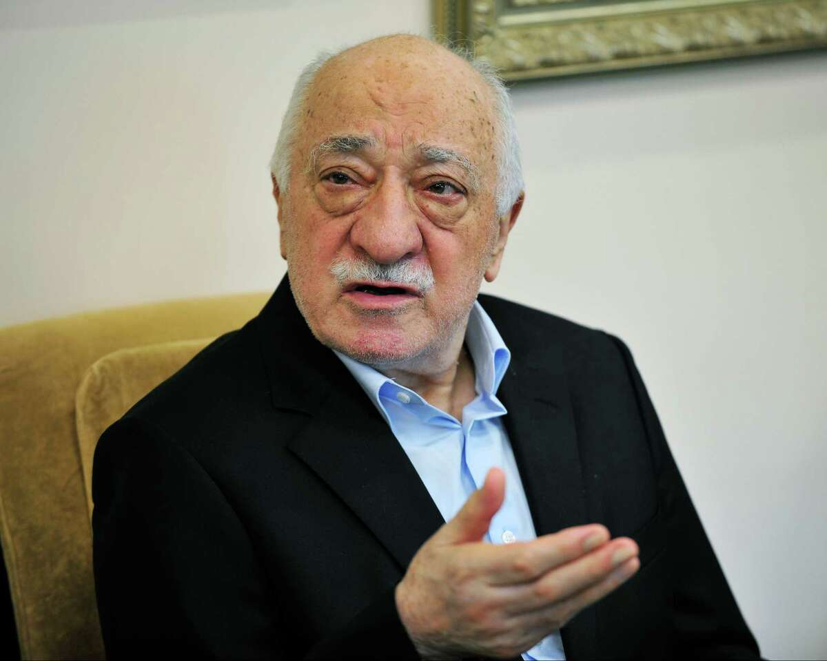 Islamic cleric Fethullah Gulen speaks to members of the media at his compound July 17, 2016, in Saylorsburg, Pa. the day after a bloody coup in Turkey. Turkey President Recep Tayyip Erdogan blames Fethullah Gulen movement for a failed coup attempt on July 14, 2016. Hundreds of Turkish citizens were killed during the unrest. Gulen denies the charges. (AP Photo/Chris Post)