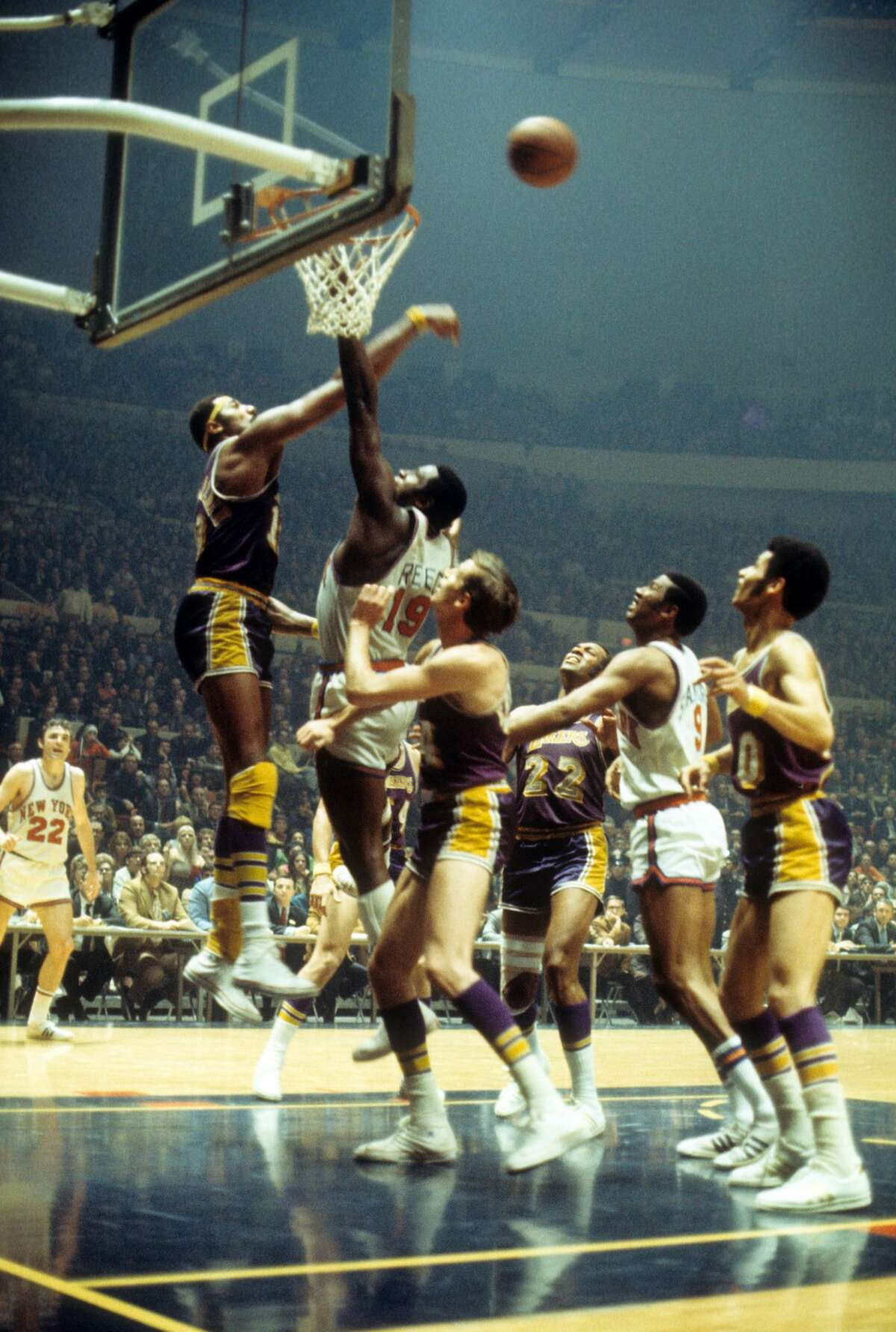 1968-1969 Los Angeles Lakers Wilt Chamberlain's trade to Los Angeles marked the first time a reigning NBA MVP was traded the following season. He teamed up with Hall-of-Famers Elgin Baylor and Jerry West in purple and gold. The team later brought back another Hall-of-Famer in Gail Goodrich in 1970, which finally led to a title in 1972.