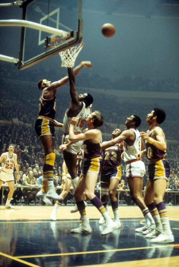 1968-1969 Los Angeles LakersWilt Chamberlain's trade to Los Angeles marked the first time a reigning NBA MVP was traded the following season. He teamed up with Hall-of-Famers Elgin Baylor and Jerry West in purple and gold. The team later brought back another Hall-of-Famer in Gail Goodrich in 1970, which finally led to a title in 1972. Photo: Wen Roberts/NBAE/Getty Images