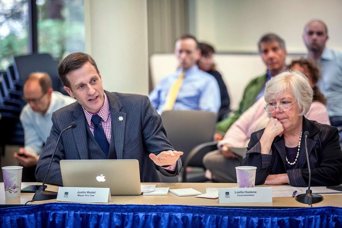 Walnut Creek City Council member Mayor Pro Tem Justin Wedel & Loella Haskew during the public comment and official discussion of locally implementing Prop 64 - marijuana legalization Tuesday 16 May 2017 at Walnut Creek City Hall in Walnut Creek, CA. (Peter DaSilva Special to the Chronicle)
