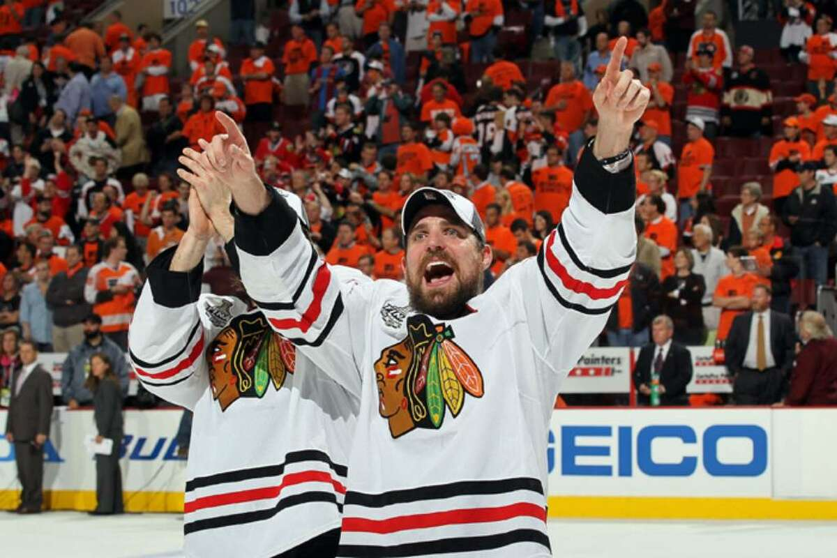 PHILADELPHIA - JUNE 09: Patrick Sharp #10 of the Chicago Blackhawks celebrates after the Blackhawks defeated the Philadelphia Flyers 4-3 in overtime to win the Stanley Cup in Game Six of the 2010 NHL Stanley Cup Final at the Wachovia Center on June 9, 2010 in Philadelphia, Pennsylvania. (Photo by Jim McIsaac/Getty Images) *** Local Caption *** Patrick Sharp