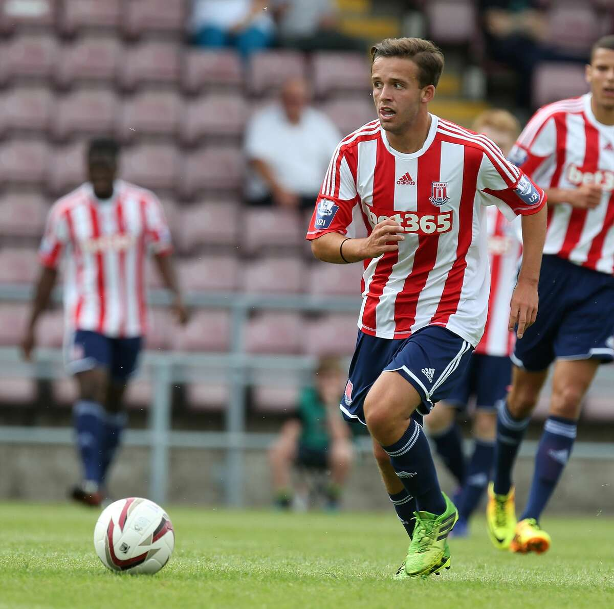 NORTHAMPTON, ENGLAND - JULY 27: Charlie Ward of Stoke City in action during the Pre-Season Friendly match between Northampton Town and Stoke City Development Squad at Sixfields Stadium on July 27, 2013 in Northampton, England. (Photo by Pete Norton/Getty Images)