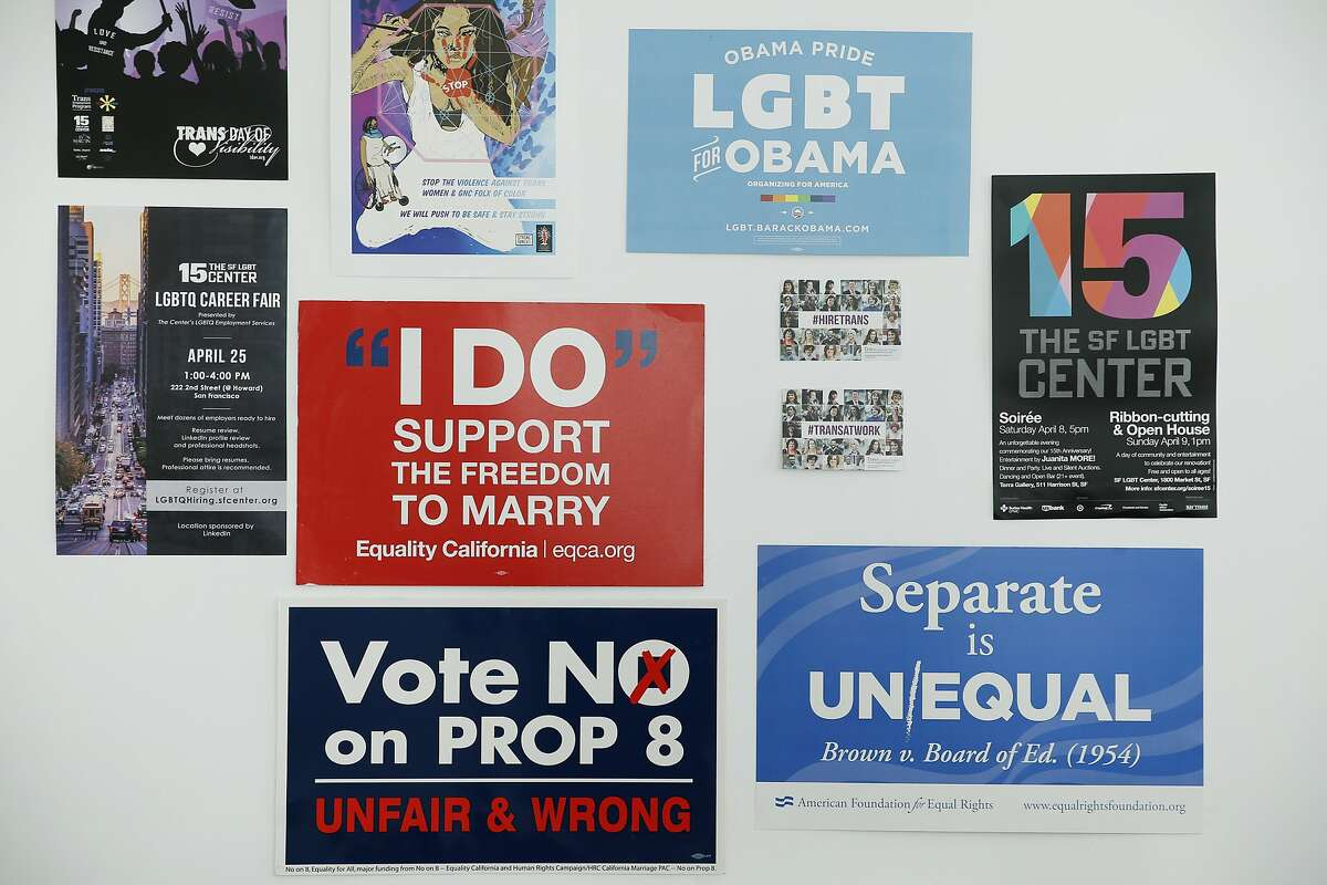 Signs at the SF LGBT Center on Friday, June 30, 2017, in San Francisco, Calif.
