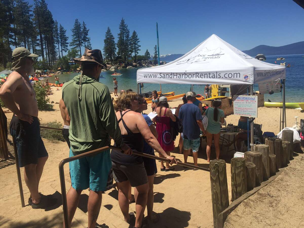 Even packed on a Monday:The beach at Sand Harbor, Lake Tahoe Nevada State Park, is packed on Mon., June 19, 2017. In the summer, even Mondays are busy at this popular beach.