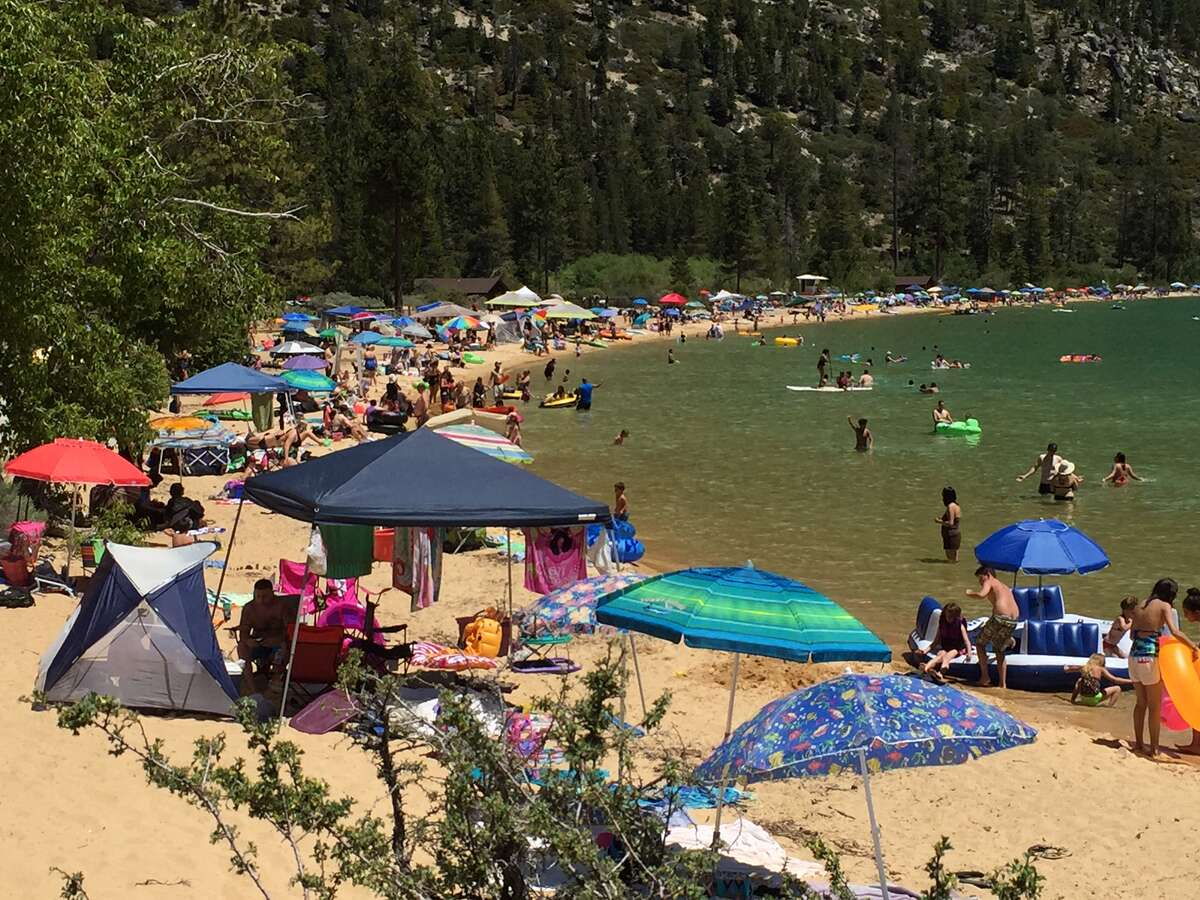 Even packed on a Monday: The beach at Sand Harbor, Lake Tahoe Nevada State Park, is packed on Mon., June 19, 2017. In the summer, even Mondays are busy at this popular beach.