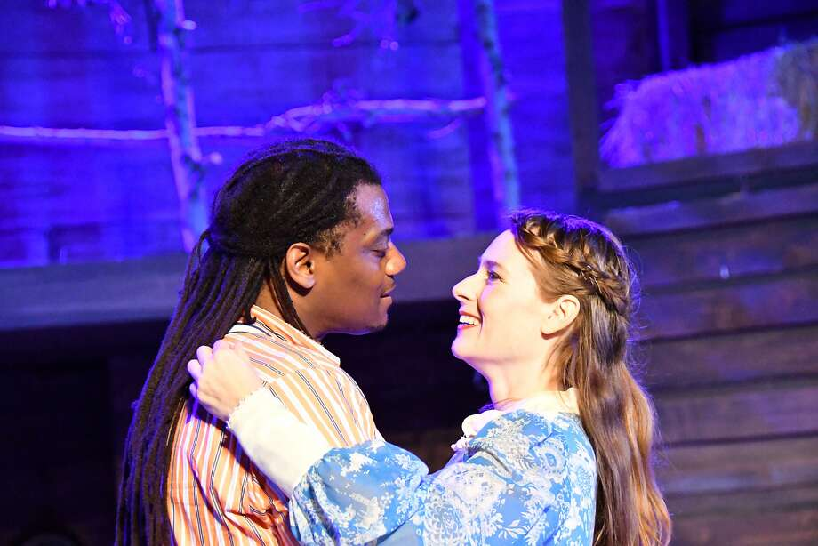 "Dameion Brown and Elena Wright in ""Much Ado About Nothing."" Photo: Jay Yamada, Marin Shakespeare Company"