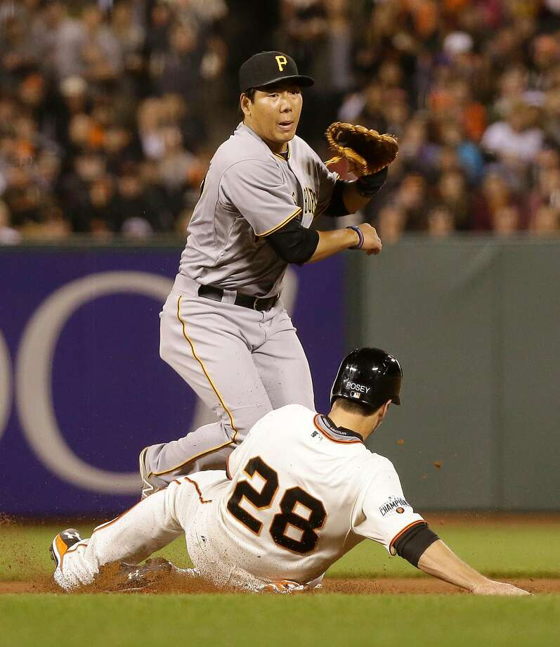 Jung Ho Kang turns a double play with Buster Posey sliding in a 2015 game at AT&T Park. Photo: Eric Risberg, Associated Press