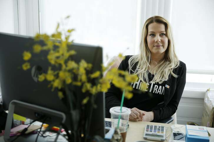 Clair Farley at her office at the SF LGBT Center on Friday, June 30, 2017, in San Francisco, Calif. Farley, a transgender woman, is the director of economic development at the center.