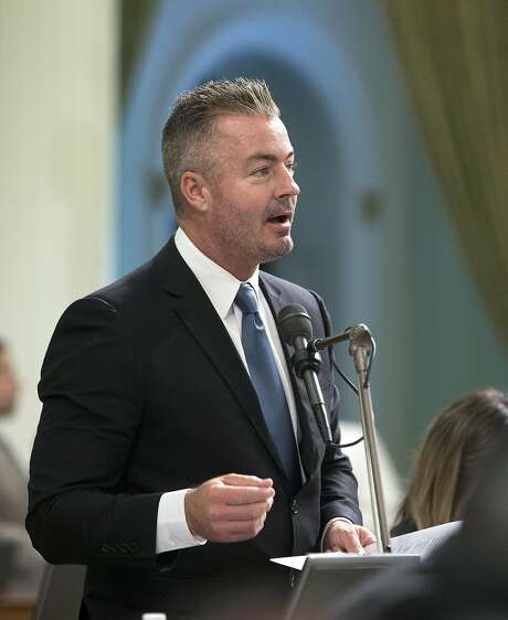 In this Aug. 18, 2016 file photo, California Assemblyman Travis Allen, R-Huntington Beach, addresses the Assembly in Sacramento. Allen said Thursday, June 22, 2017, he's entering the 2018 California gubernatorial contest that has largely been dominated by Democrats. Photo: Rich Pedroncelli, AP