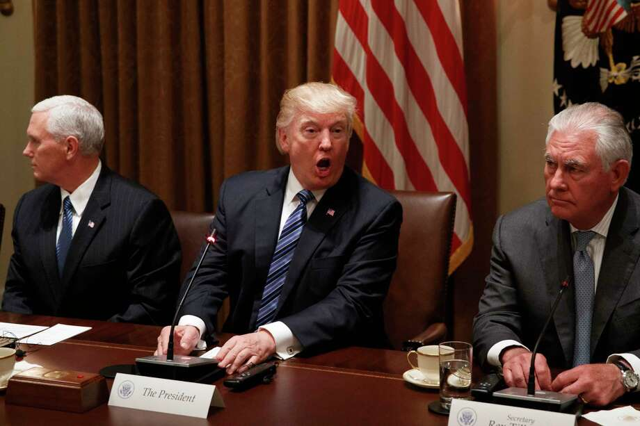 Photos: Harvey's impact on the Houston areaPresident Donald Trump, flanked by Vice President Mike Pence and Secretary of State Rex Tillerson, speaks during a meeting with South Korean President Moon Jae-in in the Cabinet Room of the White House in Washington, Friday, June 30, 2017.See images of the devastation caused by Tropical Storm Harvey.  Photo: Evan Vucci, STF / Copyright 2017 The Associated Press. All rights reserved.