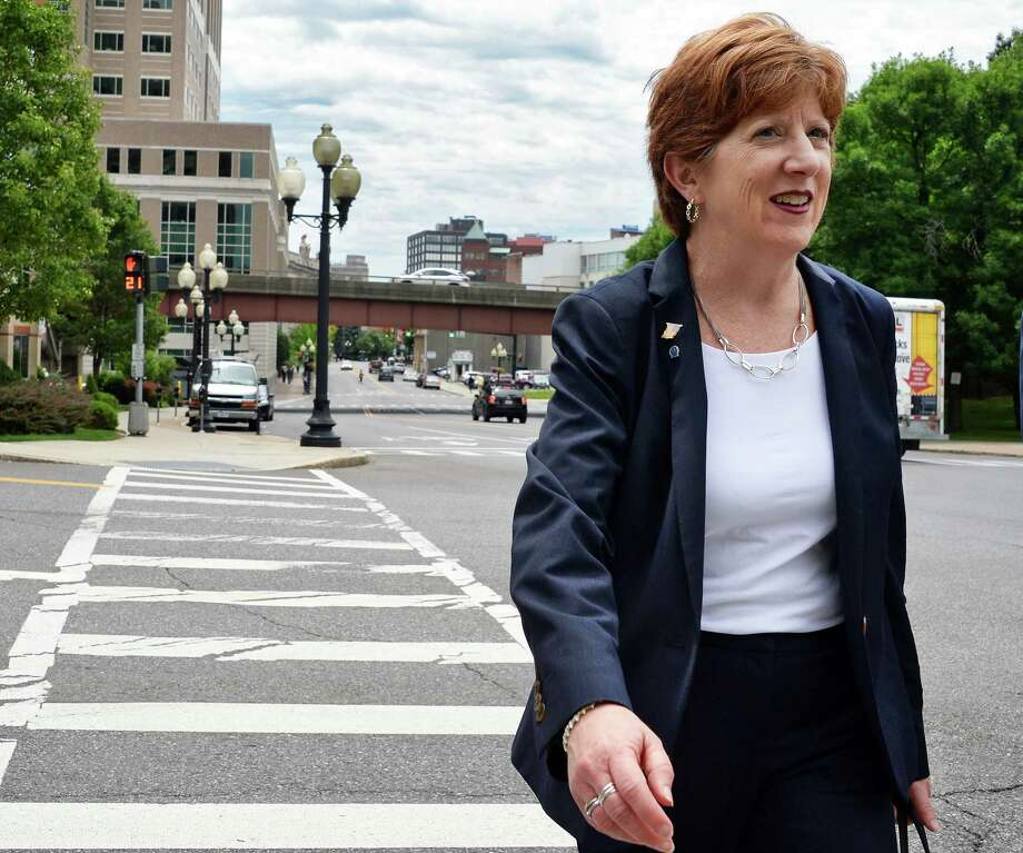 Mayor Kathy M. Sheehan walks to a news conference to laud the launch of ride-hailing services in upstate New York Thursday June 29, 2017 in Albany, NY.  (John Carl D'Annibale / Times Union) Photo: John Carl D'Annibale / 20040951A