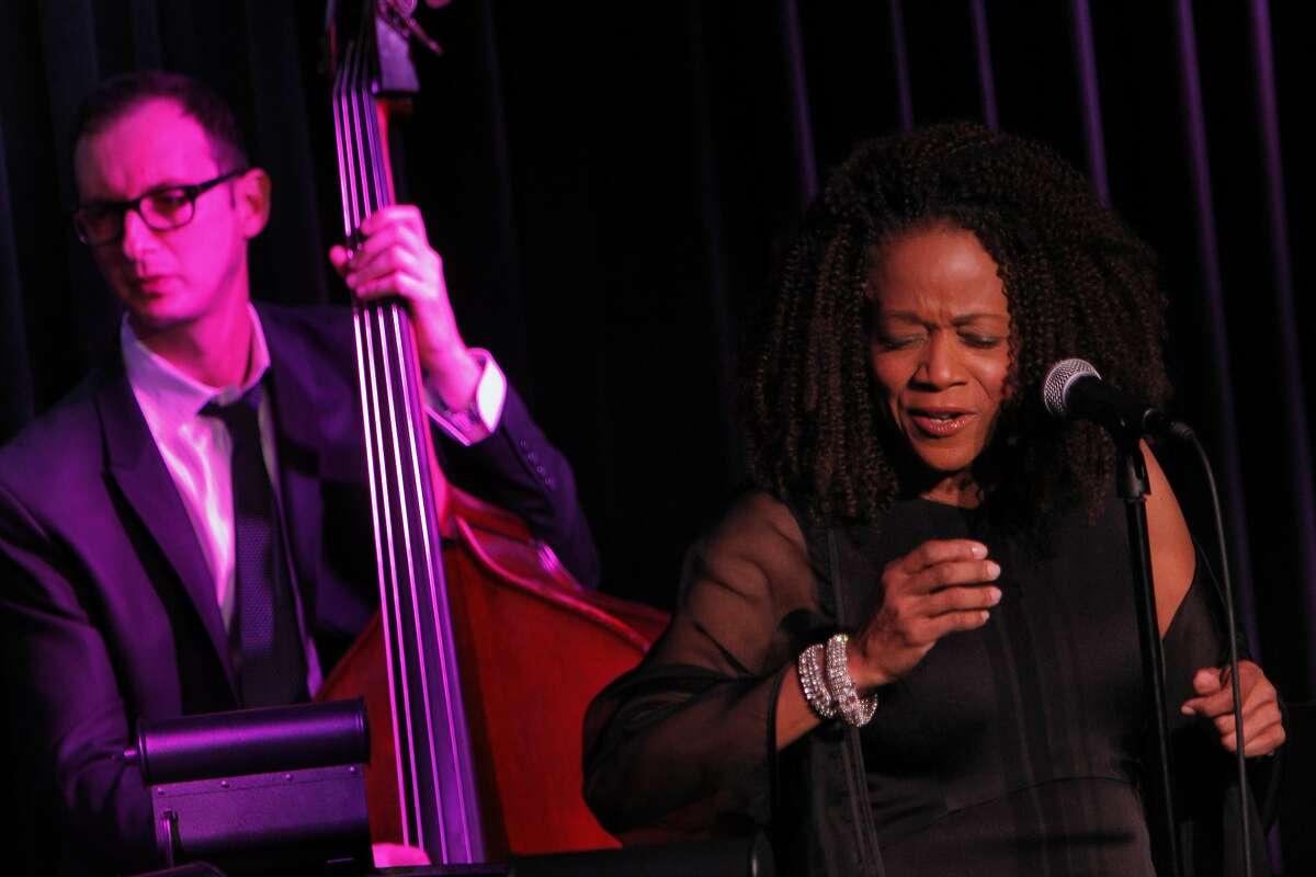 Jazz singer Paula West performs at Feinstein's at The Nikko in San Francisco, Calif., on Thursday, February 13, 2014, wiht bassist Barak Mori.