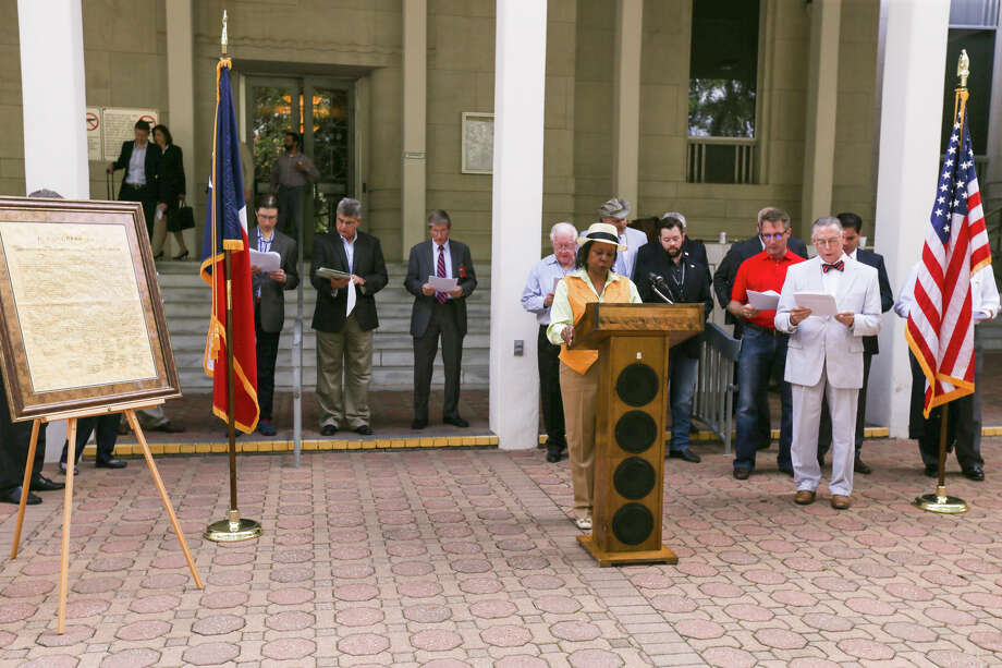 Attorney Lydia Clay-Jackson speaks during the annual Declaration of Independence reading by the Montgomery County Criminal Defense Lawyers Association on Friday outside of the Montgomery County Courthouse. Photo: Michael Minasi, Staff Photographer / © 2017 Houston Chronicle