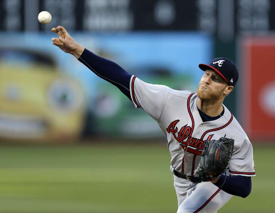 Atlanta Braves pitcher Mike Foltynewicz works against the Oakland Athletics during the first inning of a baseball game Friday, June 30, 2017, in Oakland, Calif. (AP Photo/Ben Margot) Photo: Ben Margot, Associated Press