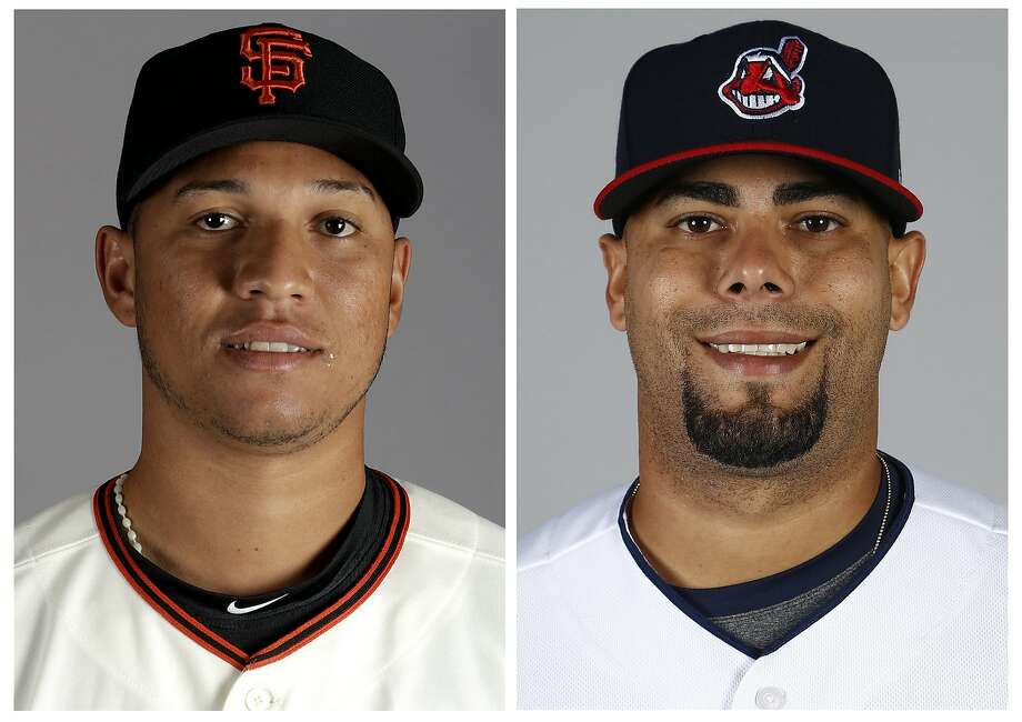 Giants Triple-A pitcher Joan Gregorio, left, was suspended for the rest of the season after testing positive for performance-enhancing drugs. Indians pitcher Joseph Colon, shown at right, also got the same suspension Saturday. Photo: Associated Press