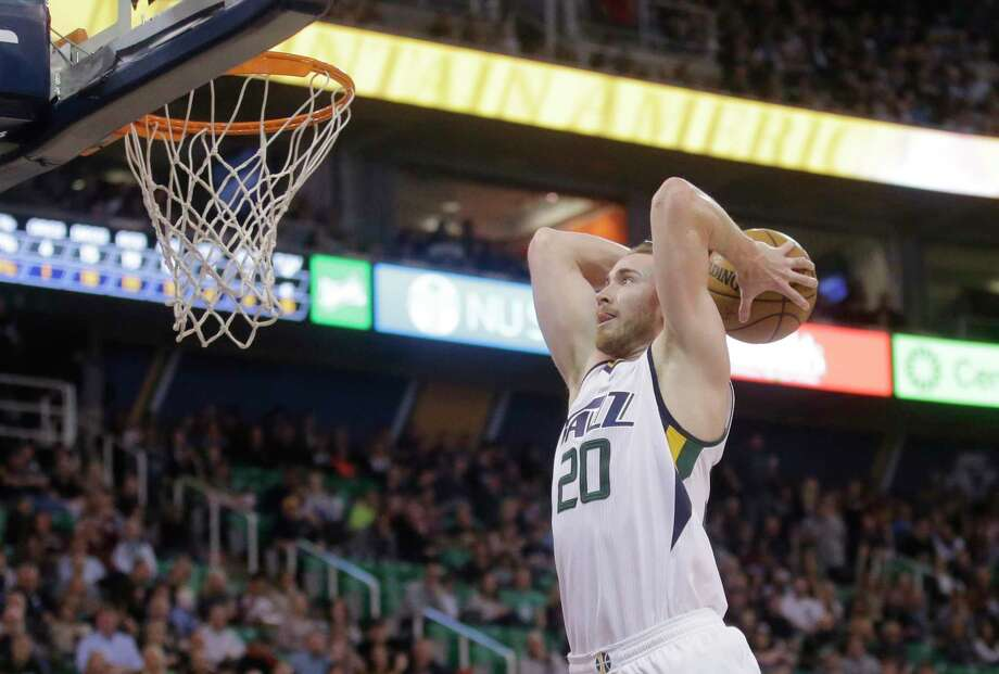FILE - In this March 3, 2017, file photo, Utah Jazz forward Gordon Hayward goes up for a dunk against the Brooklyn Nets during NBA basketball game in Salt Lake City. A person with knowledge of the decision says Hayward has declined the player-option final year on his contract as expected and will now test the market as an unrestricted free agent. (AP Photo/Rick Bowmer, File) Photo: Rick Bowmer, STF / Copyright 2017 The Associated Press. All rights reserved.