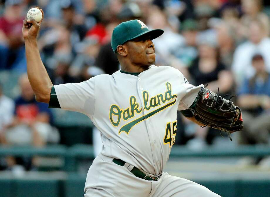 CHICAGO, IL - JUNE 23: Jharel Cotton #45 of the Oakland Athletics pitches against the Chicago White Sox during the first inning at Guaranteed Rate Field on June 23, 2017 in Chicago, Illinois.  (Photo by Jon Durr/Getty Images) Photo: Jon Durr, Getty Images