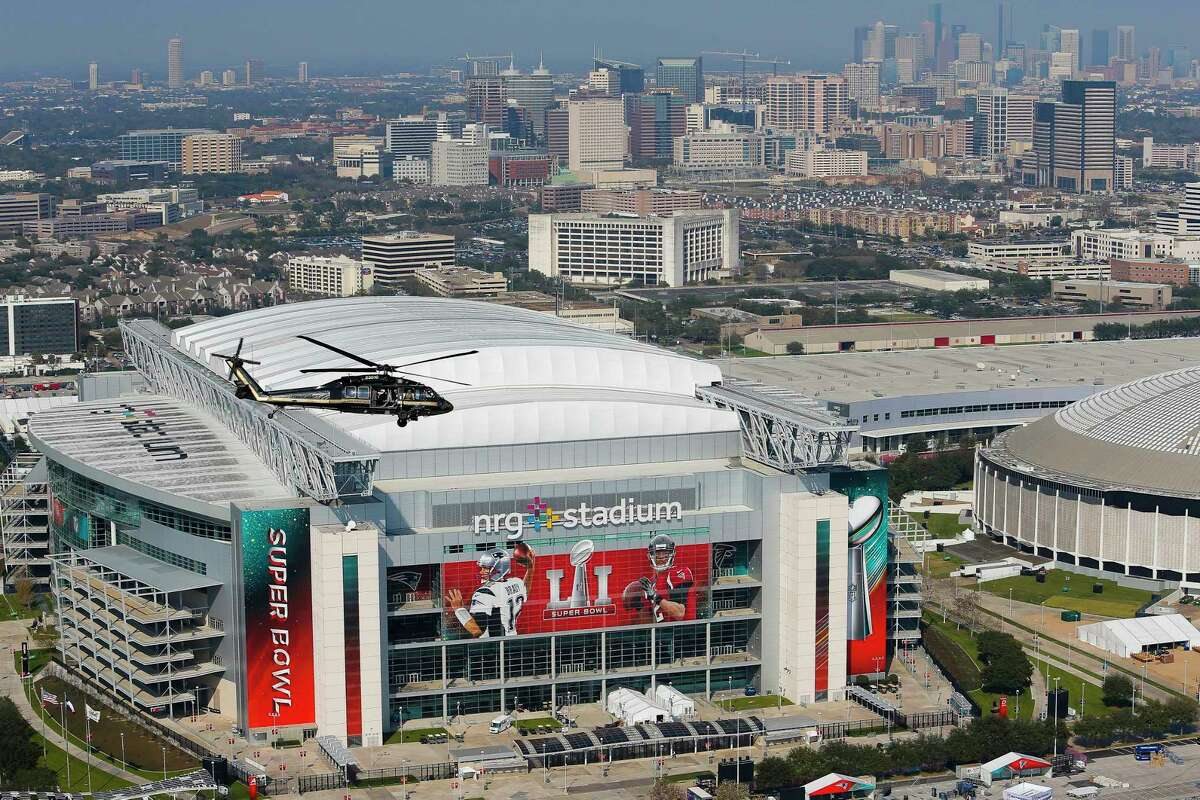 An aerial view of NRG Stadium, the next-door neighbor the large NRG Center convention hall, which will open for up to 10,000 Harvey survivors at 10 p.m. Tuesday, Aug. 29, 2017.
