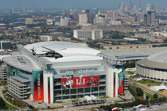 A Customs and Border Protection helicopter flies over NRG Stadium in the days before Super Bowl LI in February. Harris County's tab for the homeland security staffing during the event ran close to $75,000, which is only part of what the county spent to help host the game.