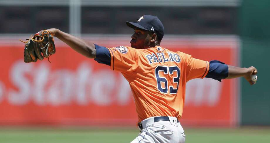 Houston Astros pitcher David Paulino works against the Oakland Athletics in the first inning of a baseball game Thursday, June 22, 2017, in Oakland, Calif. (AP Photo/Ben Margot) Photo: Ben Margot, STF / Copyright 2017 The Associated Press. All rights reserved.