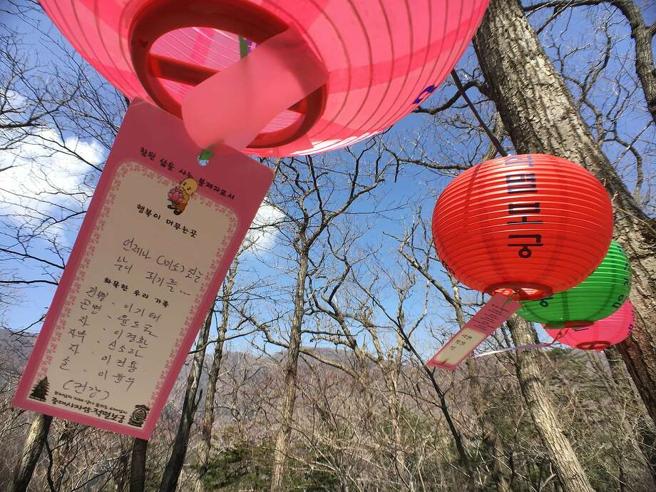 Buddha lanterns with prayer cards attached hang in front of the Jeongmyeolbogung of Woljeongsa Temple in Odaewan National Park in South Korea. The structure is said to hold a relic of the Buddha. Photo: Spud Hilton, The Chronicle