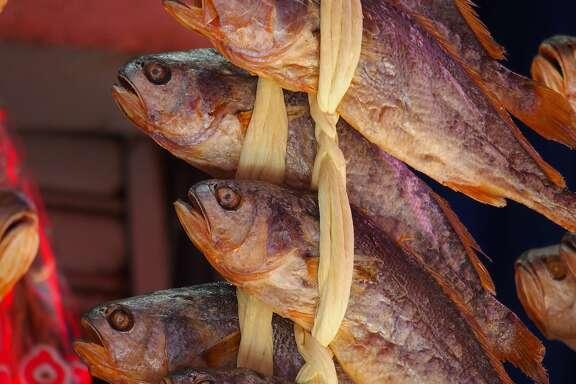 Fish for sale from a vendor in Namdaemun Market in Seoul.