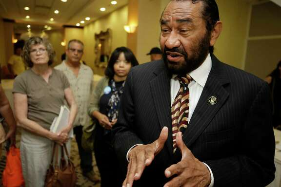 Congressman Al Green speaks to the media during a public forum on medicaid held by the Congressman along with the Children's Defense Fund-Texas, Houston Women March, Community Health Choice, HOPE Clinic, and other groups at the Crowne Plaza Hotel,  8686 Kirby Dr., Saturday, July 1, 2017, in Houston. ( Melissa Phillip / Houston Chronicle )