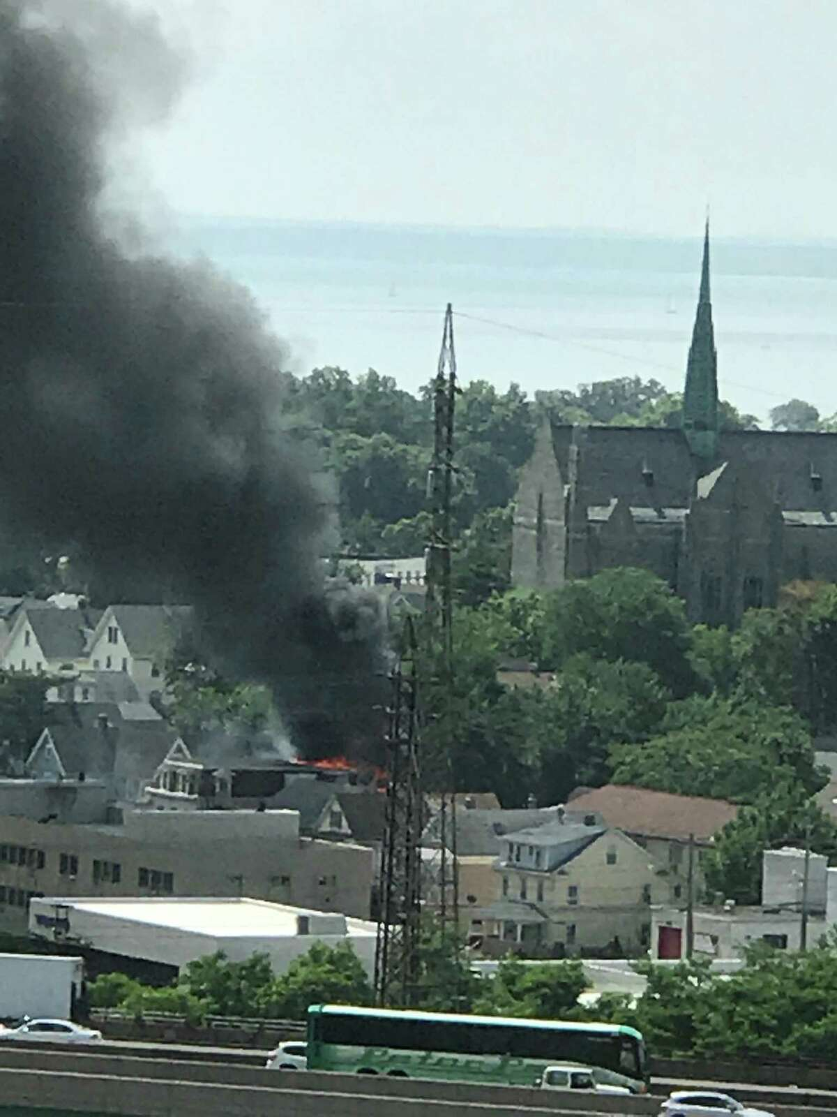 A view of a Warren St. fire on Saturday morning that displaced 12 residents from a three unit multi-family home. The photo was taken from a terrace on Glenbrook Road.