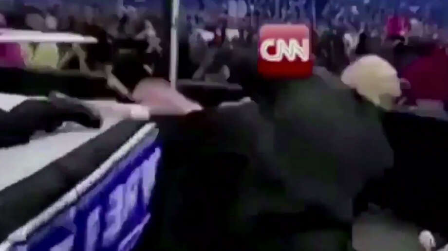 On Sunday, July 2, 2017, Donald Trump posted a video of himself beating up a man in a suit with a CNN logo over his face. The video, posted directly on Trump's official Twitter account, is modified footage from his appearance at Wrestlemania 23 in 2007. Photo: Donald Trump On Twitter