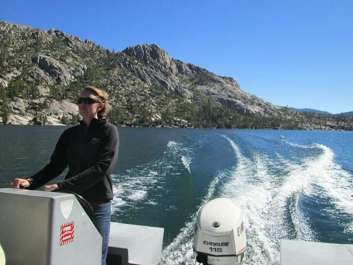 Sydney Miller runs hiker's boat shuttle across Echo Lakes that shaves 2.5 miles off the hike Tom Stienstra/The Chronicle