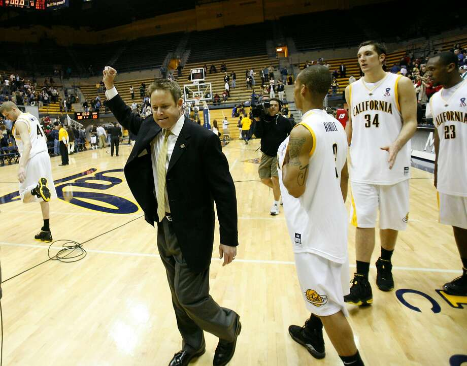 Ben Braun celebrates what would be his last win at Cal, a first-round NIT defeat of New Mexico in 2008. Photo: Michael Maloney, SFC