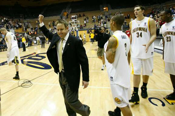 Cal Bears head coach Ben Braun reacts after the win. The Cal Bears men's basketball team hosts the New Mexico Lobos in the first round of the National Invitation Tournament on Wednesday, March18, 2008 at Haas Pavilion on the UC Berkeley (Calif.) campus. The Bears won 68-66.  Photo by Michael Maloney / San Francisco Chronicle