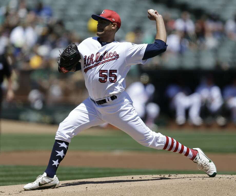 Oakland Athletics pitcher Sean Manaea works against the Atlanta Braves in the first inning of a baseball game, Sunday, July 2, 2017, in Oakland, Calif. (AP Photo/Ben Margot) Photo: Ben Margot, Associated Press