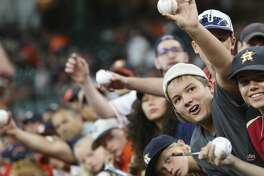 Houston Astros fans hope to get an autograph from Houston Astros starting pitcher Lance McCullers Jr. (43) before the team takes on New York Yankees at Minute Maid Park Sunday, July 2, 2017, in Houston. ( Yi-Chin Lee / Houston Chronicle )