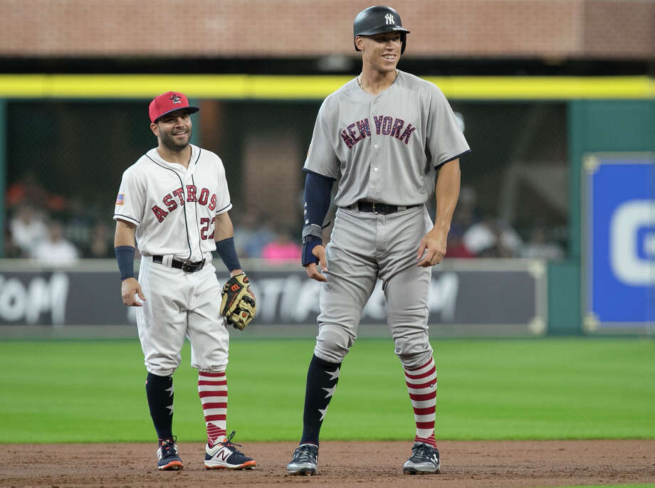 New York Yankees' Aaron Judge, right, and Houston Astros second baseman Jose Altuve have a conversation during the first inning of a baseball game, Sunday, July 2, 2017, in Houston. Both players have been elected to start in the All-Star Game in Miami on July 12, 2017.  (Yi-Chin Lee/Houston Chronicle via AP) Photo: Yi-Chin Lee, MBO / ' 2017 Houston Chronicle