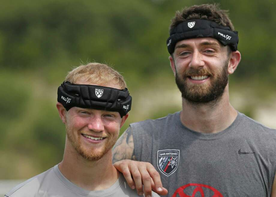San Antonio FC soccer players Stephen McCarthy (Right) and Kris Tyrpak wear their headgear to guard against concussions on June 21, 2017 at the STAR Soccer Complex. Photo: Ron Cortes /For The Express-News