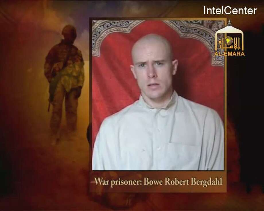 This is an image from video made available by IntelCenter shows a video frame grab from the Taliban propaganda video released Friday Dec. 25, 2009 purportedly showing U.S. soldier Pfc. Bowe Bergdahl, 23, of Ketchum Idaho who was captured more than five months ago in eastern Afghanistan.It could not be confirmed immediately that it was Bergdahl in the new video, which was released to The Associated Press and other news organizations. The man identifies himself as Bergdahl, born in Sun Valley, Idaho, and gives his rank, birth date, blood type, his unit and mother's maiden name before beginning a lengthy verbal attack on the U.S. conduct of the war in Afghanistan and its relations with Muslims. (AP Photo/via IntelCenter) IntelCenter Logo must not be cropped NO SALES Photo: Anonymous, HO / AP / Associated Press