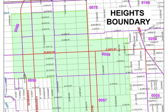 Shown here are the boundaries of the Heights area of Houston.