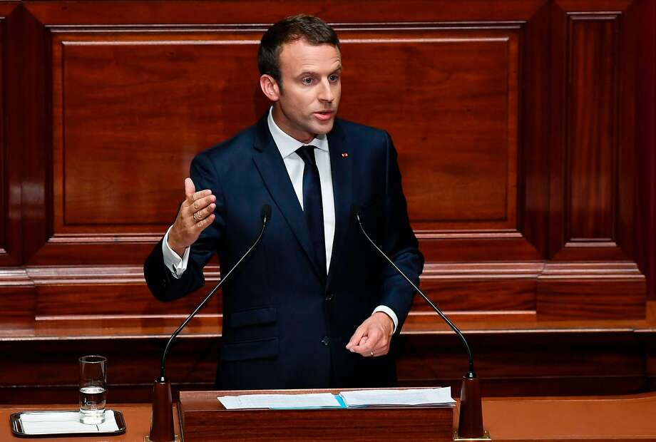 President Emmanuel Macron addresses lawmakers in the palace of Versailles outside Paris. Photo: ERIC FEFERBERG, AFP/Getty Images