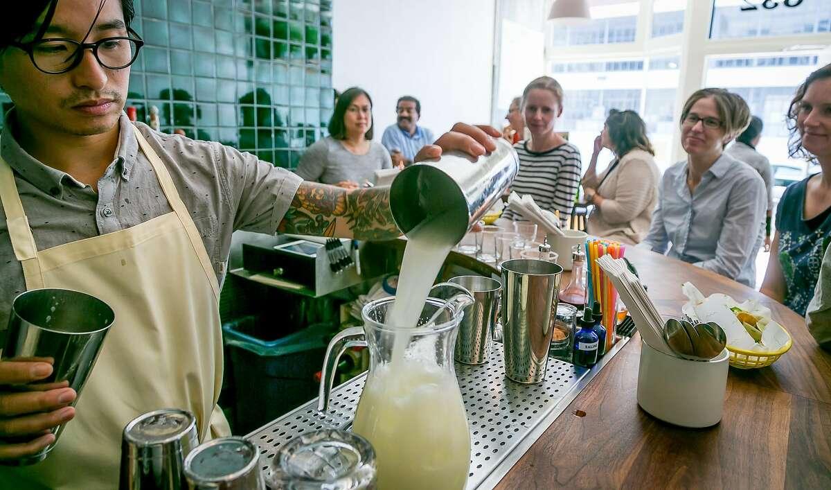 Bartender Matt Hoang makes Margaritas at Glena's in San Francisco, Calif. on June 23rd, 2017.