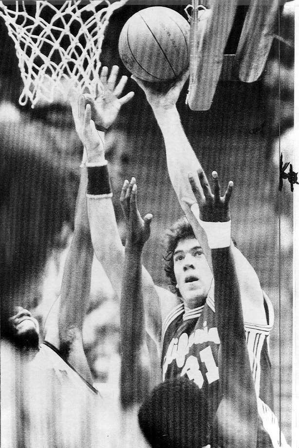 MAC/B/30JAN98/PF/AP--Cal's Mark McNamara scores 2 of his game high 21 points. PHOTO BY THE ASSOCIATED PRESS/1982