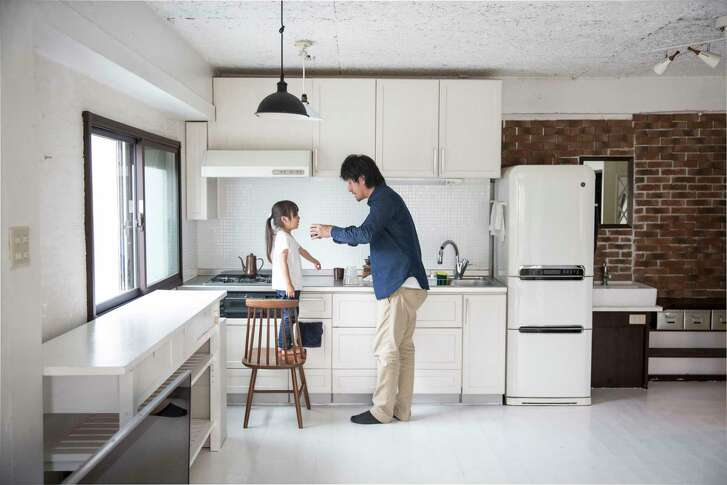 Naoki Numahata and daughter Ei, 4, are committed to a minimalist lifestyle.